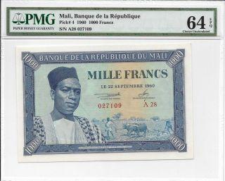 Mali,  Banque De La Republique - 1000 Francs,  1960.  Pmg 64epq. photo
