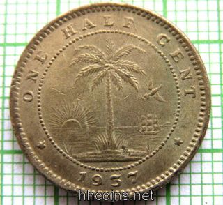 Liberia 1937 1/2 Cent,  Elephant & Sailing Ship,  Aunc photo