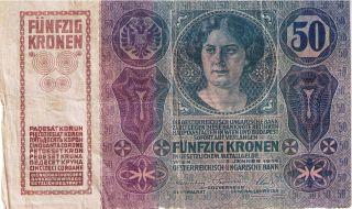 Rare Austria Banknote Paper Money 50 Korona Kronen Of 1914 photo