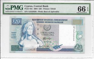 Cyprus,  Central Bank - 20 Pounds,  2004.  Pmg 66epq. photo