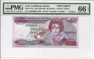 East Caribbean States - $20,  Nd (1987 - 88).  Specimen.  Pmg 66epq. photo
