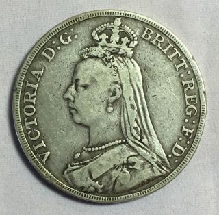 Great Britain 1889 Crown Silver Coin photo