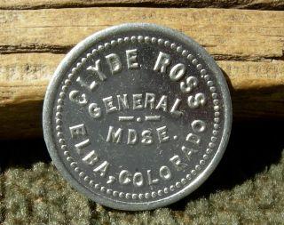 Ca 1900s Elba Colorado (tiny 1 Merchant Ghost Town? Washington Co) Ross Token photo
