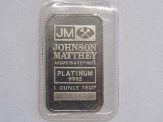 1 Oz Platinum Johnson Matthey Bar.  9995 Fine In Open Plastic Plat photo