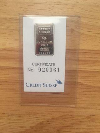 5 Gram Credit Suisse Valcambi 999.  5 Platinum Fractional Bar (in Assay) photo