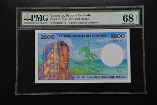 Comoros 1997 Pick 13 Pmg68 Epq Finest Known 2117 photo