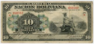 Bolivia 1911 Issue 10 Boliviano Note. photo