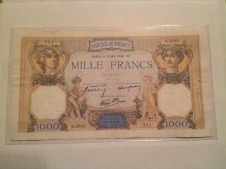France 1000 Francs 1940 Vf, photo