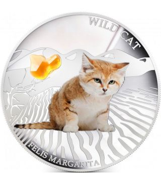 Fiji 2013 2$ Dogs & Cats Series Wild Cat Felis Margarita 1 Oz Proof Silver Coin photo