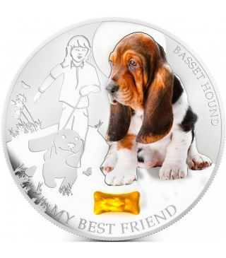 Fiji 2013 2$ Dogs & Cats My Best Friend - Basset Hound 1 Oz Proof Silver Coin photo