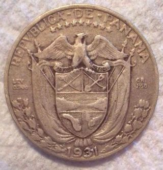 1931 Panama 1/10 Balboa Km 10.  1.  900 Silver Coin photo