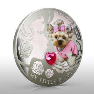 Fiji 2013 2$ Dogs & Cats - My Little Puppy Yorkshire Terrier Proof Silver Coin photo