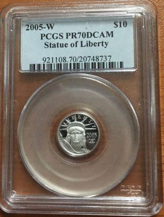 2005 Pcgs Pf70 $10 Platinum Eagle (1/10th Oz.  Coin) photo
