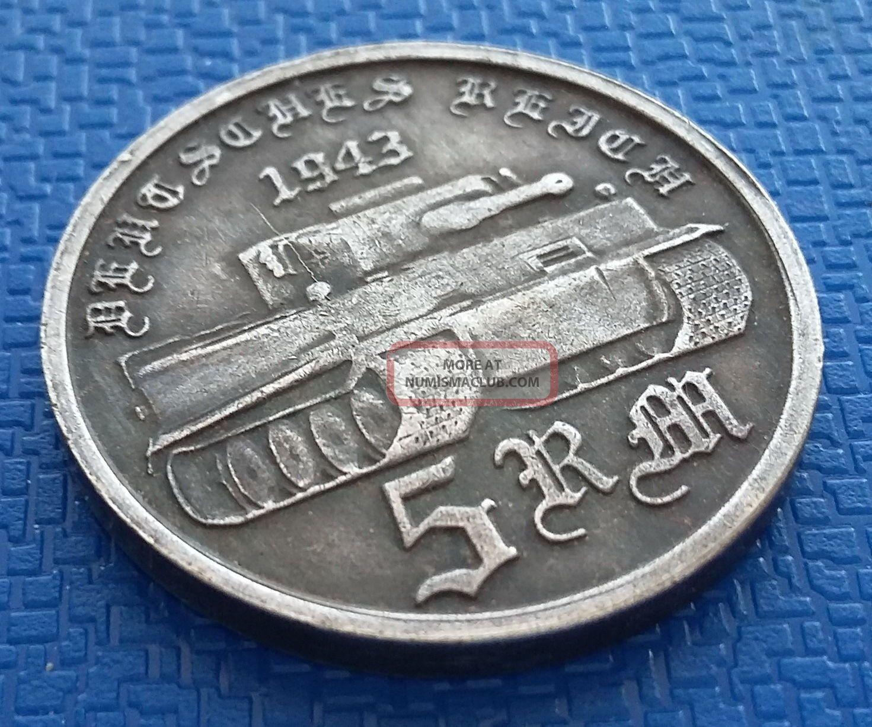 1943 Germany,  5 Reichsmark,  Silvered,  Reich,  Adolf H.  Ww2 Germany photo