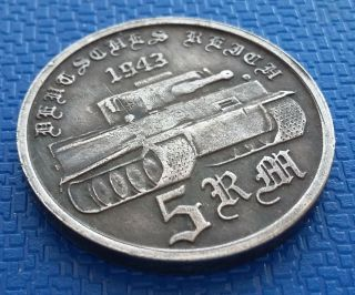 1943 Germany,  5 Reichsmark,  Silvered,  Reich,  Adolf H.  Ww2 photo