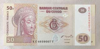 Congo 50 Francs Unc Banknote Central Bank Of Congo 2007 photo