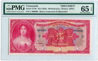Venezuela Specimen 100 Bolivares 1929,  Pick S179,  Pmg Gem Uncirculated 65 Epq photo