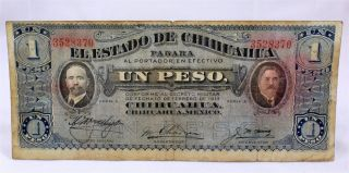 Large Mexican Note One Peso 1915 Chihuahua Mexico photo