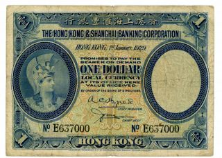 Hong Kong … P - 172b … 1 Dollar … 1929 … Vg - F photo