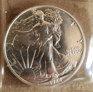 1988 Brilliant Uncirculated Walking Liberty Silver Dollar photo