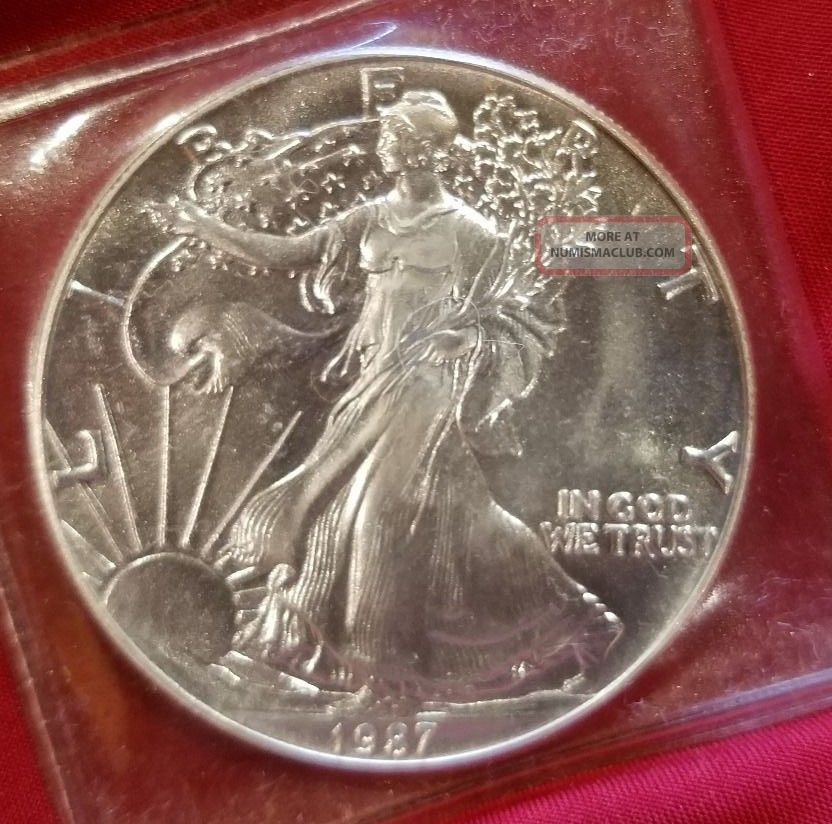 1987 Brilliant Uncirculated Walking Liberty Silver Dollar Half Dollars photo