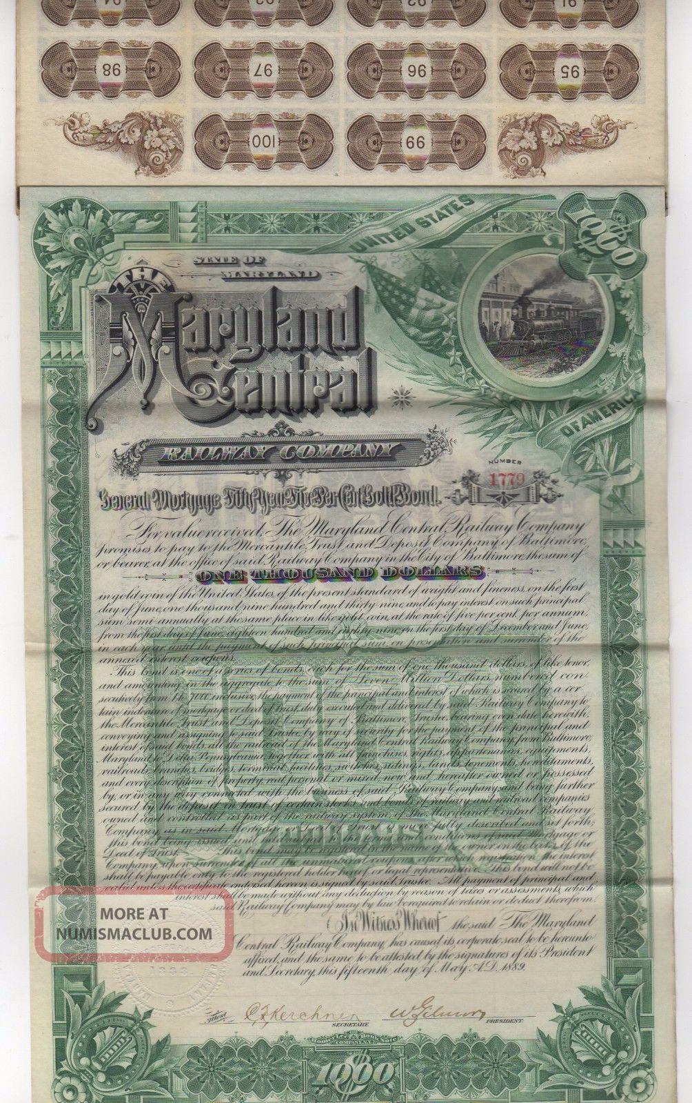 1889 Maryland Central Railway Co.  Bond W/bond Coupons Transportation photo