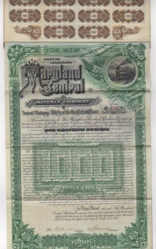 1889 Maryland Central Railway Co.  Bond W/bond Coupons photo