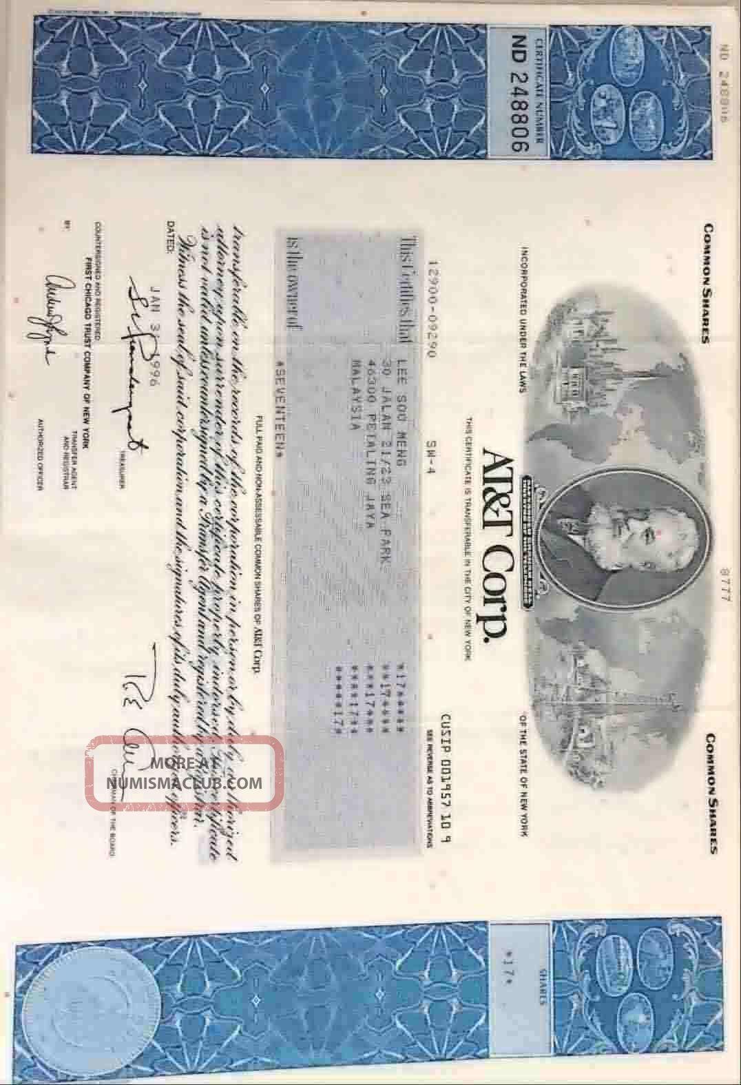 American Telephone & Telegraph Company Stock Certificate (at&t) Stocks & Bonds, Scripophily photo