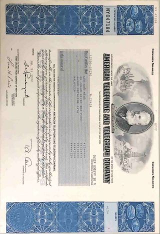 American Telephone & Telegraph Company Stock Certificate (at&t) photo