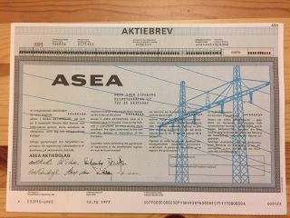 Stock Certificate Asea 1977 photo