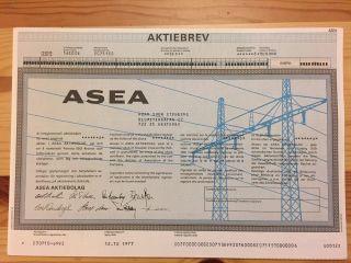 Stock Certificate Asea 1977 photo