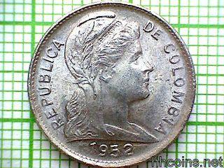 Colombia 1952 B Centavo,  Unc photo