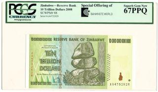 Zimbabwe 10 Trillion Dollars 2008 Pcgs 67 Ppq Gem S/n Aa 4752828 photo