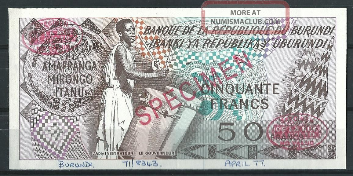 Burundi 50 Francs 1977 // Specimen Proof Very Scarce Trial Africa photo