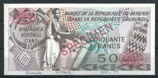Burundi 50 Francs 1977 // Specimen Proof Very Scarce Trial photo