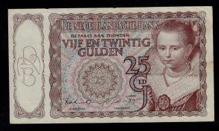 Netherlands 25 Gulden 12 - 4 - 1944 Pick 60 Vf Banknote. photo