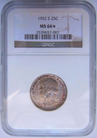 1952 S Washington Silver Quarter Ngc Ms 66 Star Two Sided Toner Toned Coin photo