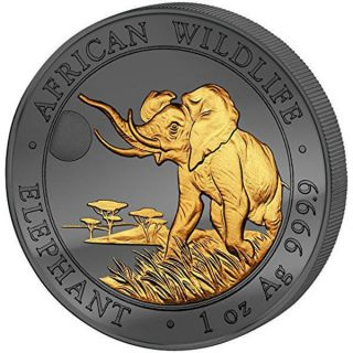 Somalia 2016 100 Shillings Elephant Golden Enigma Edition 2016 Bu Silver Coin photo