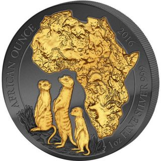 Rwanda 2016 50 Francs Golden Enigma African Meerkat 1ozbu Silver Coin photo