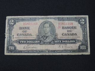 1937 $2 Dollar Bill Bank Note Canada N/b5851169 Gordon - Towers Vg photo
