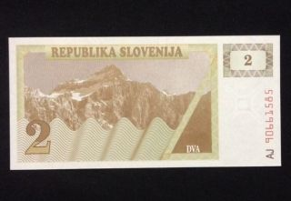 Slovenia Unc 2 Tolar 1990 Banknote World Currency Paper Money photo