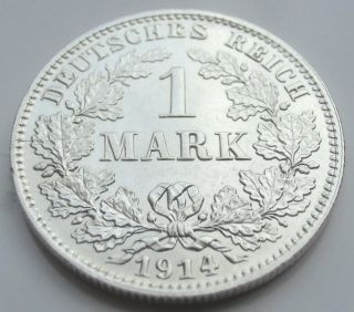 Rare Germany Empire 1 Mark Silver Coin 1914 E - 0.  900 Silver photo