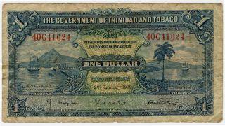 Trinidad And Tobago 1939 Issue 1 Dollar Note. photo