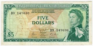 East Caribbean States 1965 Issue 5 Dollars Note Crisp.  Pick 14. photo