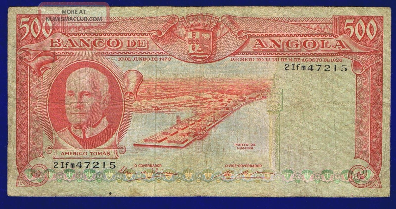 Angola 500 Escudos 1970 Pic97 Vg Angola photo