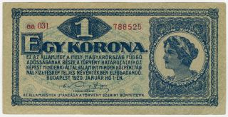 Hungary 1920 Issue 1 Korona Note Crisp Xf.  Pick 57. photo