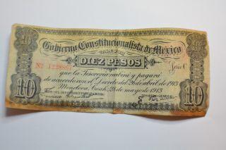 Mexico Banknote/coahuila … P - S629 … 10 Pesos,  1913 Fine, photo