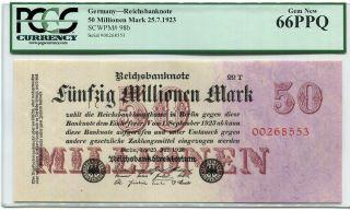 Germany Reichsbank 25.  7.  1923 50 Million Mark Pick 98b Pcgs Graded 66ppq photo