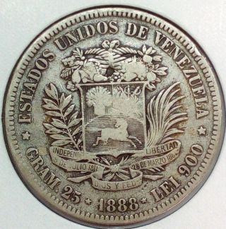 Venezuela Silver Coin 1888 Gram 25,  5 Bolivares Scarce Date photo
