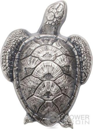 Sea Turtle Shaped Silver Coin 10$ Palau 2017 photo